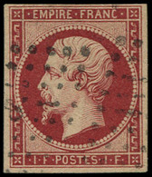 O FRANCE - Poste - 18d, Réimpression, Signé Calves (fausse Oblitération): 1f. Carmin - 1853-1860 Napoleon III