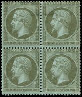 * FRANCE - Poste - 19, Bloc De 4 (paire Inférieure **): 1c. Olive - 1862 Napoleon III