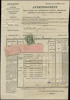LET FRANCE - Poste - 19, Oblitération Sur Avertissement Fiscal, Cad. 15/2/69: 1c. Vert-olive - Unclassified