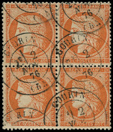 O FRANCE - Poste - 38, Bloc De 4 Dont 1 Exemplaire Coin Du Bas Gauche Non Imprimé, Superbe: 40c. Orange - 1870 Siège De Paris