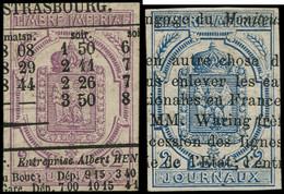 O FRANCE - Journaux - 1/2, 2c. Violet Et 2c. Bleu - Journaux
