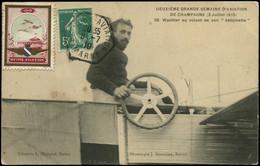 LET FRANCE - 1° Vols - Bétheny Aviation 1910, Cp (n° 20 - Wachter), Obl. Hexagonale 8/7/10 + Vignette Polychrome - Premiers Vols
