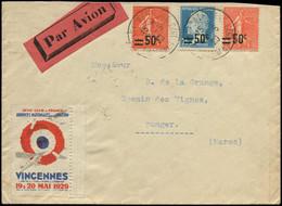 LET FRANCE - 1° Vols - 19/5/29, Vincennes/Toulouse/Casa/Tanger, Enveloppe, Vignette Spéciale (Saul 22) - Premiers Vols