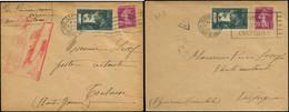 LET FRANCE - 1° Vols - 07/7/37, Paris/Toulouse Et Paris/Perpignan, 2 Enveloppes (1 Avec Cachet Rouge) (Saul 20 B) - Premiers Vols