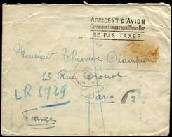 """LET FRANCE - 1° Vols - 27/9/37, Accident D'avion, Griffe Spéciale Violette """"Service Postal Français"""" + Griffe Noire """"Acc - Premiers Vols"""