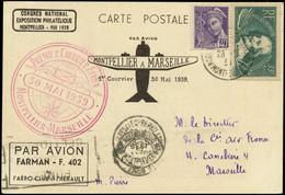LET FRANCE - 1° Vols - 30/5/39, Montpellier/Marseille, Cp Spéciale + Cachet Rouge (Saul 15) - Premiers Vols