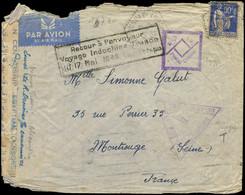 LET FRANCE - 1° Vols - 17/5/40, France/Indochine, Voyage Interrompu Pour Faits De Guerre, Enveloppe Censurée - Premiers Vols