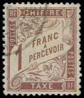 O FRANCE - Taxe - 25, Signé Calves, TB Centrage: 1f. Marron - 1859-1955 Used