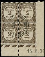 O FRANCE - Taxe - 62, Bloc De 4 Coin Daté 15/6/31: 2f. Sépia  (Spink) - 1859-1955 Used