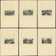 EPA COLONIES SERIES - Poste Aérienne - 1946, Tchad Au Rhin, Série Complète De 6 épreuves En Noir, Sans Le Pays, Signées  - 1946 Tchad Au Rhin