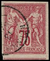O COLONIES GENERALES - Poste - 28, Oblitération Cachet à Date Réunion: 75c. Rose (Maury) - Sage