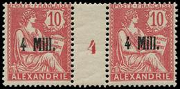 """** ALEXANDRIE - Poste - 37, Paire Millésime """"4"""" (Maury): 4m. S. 10c. Rouge - Neufs"""