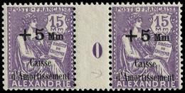 "** ALEXANDRIE - Poste - 84, Paire Millésime ""0"" (Maury) - Neufs"