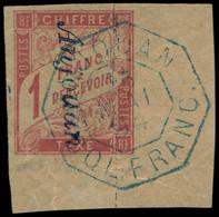 """O ANJOUAN - Taxe - Colonies Générales Taxe 25 Surcharge Linéaire """"Anjouan"""", Signé Brun, Cdf - Oblitérés"""