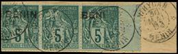 """O BENIN - Poste - 4a, Bande De 3 Dont 1 Exemplaire Sans Surcharge Et 1 Exemplaire """"BENI"""", Sur Fragment, Signé Roumet: 5c - Used Stamps"""