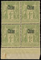 ** CHINE FRANCAISE - Poste - 14, Bloc De 4, Bdf: 1f. Bronze - Neufs