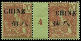 """* CHINE FRANCAISE - Poste - 69, Paire Millésime """"4"""": 20c. Brique S. Vert (Maury) - Neufs"""