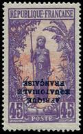 ** CONGO - Poste - 83a, Surcharge Renversée, Signé Roumet: 45c. Violet Et Rouge - Ungebraucht