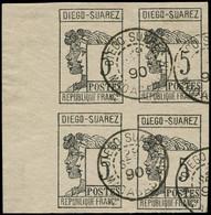 O DIEGO-SUAREZ - Poste - 7, Bloc De 4, Signé Scheller: 5c. Gris-noir - Used Stamps