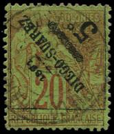 O DIEGO-SUAREZ - Poste - 12a, Surcharge Renversée, Signé Scheller: 5c. S. 20c. Brique  S. Vert - Used Stamps