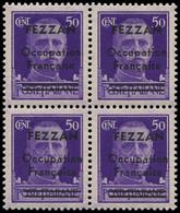 ** FEZZAN - Poste - 1, Bloc De 4 Dont 1 Exemplaire Barre Inférieure Plus Courte: 50c. Violet (Maury) - Neufs