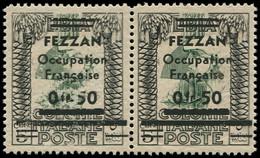 """** FEZZAN - Poste - 2, En Paire Dont 1 Exemplaire """"5"""" Cassé, Signé Calves (Maury) - Neufs"""
