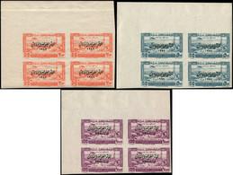 ** GRAND LIBAN - Poste Aérienne - 82/84, Blocs De 4 Non Dentelés, Coin De Feuille (Maury) - Airmail