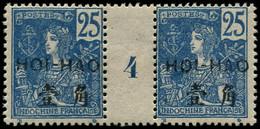 """* HOI-HAO - Poste - 39, Paire Millésime """"4"""": 25c. Bleu (Maury) - Neufs"""