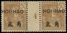 """* HOI-HAO - Poste - 43, Paire Millésime """"4"""", Tirage 146, Gomme Coloniale: 50c. Bistre S. Paille (Maury) - Neufs"""