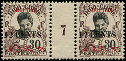 """** HOI-HAO - Poste - 74, En Paire Millésime """"7"""", Gomme Coloniale Tirage 534 (Maury) - Neufs"""
