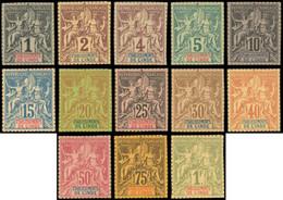 (*) INDE FRANCAISE - Poste - 1/13, Tirage Sur Bristol, Dentelure Figurée, Complet 13 Valeurs (Maury) - Non Classés
