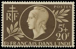 ** INDE FRANCAISE - Poste - 233A, Non émis 5f + 20f Sépia: Entraide (Maury 262 A) - Non Classés