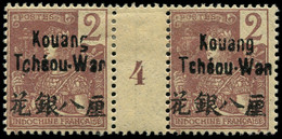 "* KOUANG-TCHEOU - Poste - 2, Paire Millésime ""4"": 2c. Lilas-brun S. Paille (Maury) - Unused Stamps"