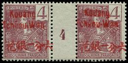 "* KOUANG-TCHEOU - Poste - 3, Paire Millésime ""4"", Tirage 238: 4c. Lilas-brun S. Gris (Maury) - Unused Stamps"