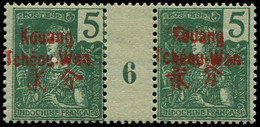 """* KOUANG-TCHEOU - Poste - 4, Paire Millésime """"6"""", Gomme Coloniale: 5c. Vert (Maury) - Unused Stamps"""