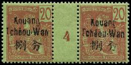 """** KOUANG-TCHEOU - Poste - 7, Paire Millésime """"4"""": 20c. Brique S. Vert (Maury) - Unused Stamps"""