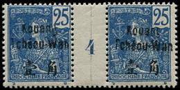 "* KOUANG-TCHEOU - Poste - 8, Paire Millésime ""4"", Gomme Coloniale: 25c. Bleu (Maury) - Unused Stamps"