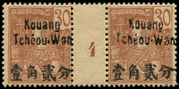 """* KOUANG-TCHEOU - Poste - 9, Paire Millésime """"4"""", Tirage 180: 30c. Brun S. Chamois (Maury) - Unused Stamps"""