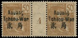 "(*) KOUANG-TCHEOU - Poste - 12, Paire Millésime ""4"", Tirage 142: 50c. Bistre S. Paille (Maury) - Unused Stamps"