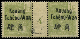 """* KOUANG-TCHEOU - Poste - 14, Paire Millésime """"4"""", Tirage 112: 1f. Olive (Maury) - Unused Stamps"""