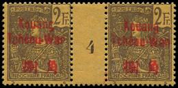 "* KOUANG-TCHEOU - Poste - 15, Paire Millésime ""4"", Tirage 92: 2f. Violet S. Jaune (Maury) - Unused Stamps"