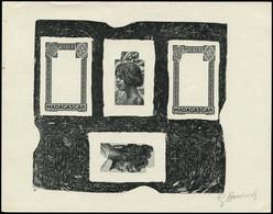 EPA MADAGASCAR - Poste - 162 + 165, épreuve D'artiste Quadruple En Noir, Décomposition En 2 X 2 états, Signée Hourriez C - Non Classés