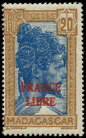 ** MADAGASCAR - Poste - 255A, Signé Scheller, 20f. FRANCE LIBRE: Chef Sakalave - Neufs
