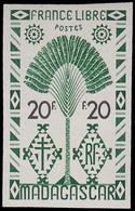 ** MADAGASCAR - Poste - 278, Non émis Vert Et Noir, Non Dentelé, Sans Teinte De Fond: 20f. France Libre (Maury 294) - Non Classés