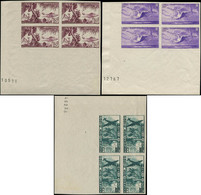 ** MARTINIQUE - Poste Aérienne - 13/15, Blocs De 4 Non Dentelés, Coin De Feuille (Maury) - Airmail
