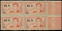 ** MAURITANIE - Poste - 137, Bloc De 4 Double Surcharge, Gomme Coloniale, Signé Calves: René Caillié (Maury) - Neufs