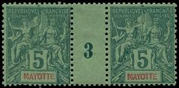 """** MAYOTTE - Poste - 4, Paire Millésime """"3"""" (* Sur Millésime): 5c. Vert - Neufs"""