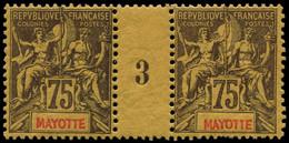 """** MAYOTTE - Poste - 12, Paire Millésime """"3"""" (* Sur Millésime): 75c. Violet S. Jaune - Neufs"""