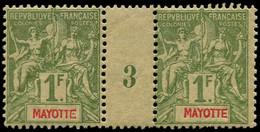 """** MAYOTTE - Poste - 13, Paire Millésime """"3"""" (* Sur Millésime): 1f. Olive - Neufs"""