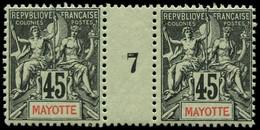 """** MAYOTTE - Poste - 19, Paire Millésime """"7"""" (* Sur Millésime): 45c. Noir S. Vert - Neufs"""
